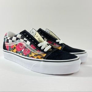 Vans Old Skool Rose Animal Checkerboard Sneakers